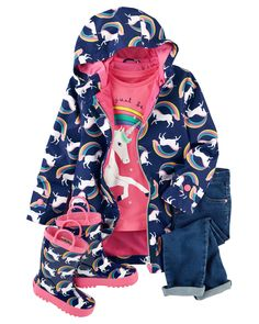 This magical outfit features knit jeans with back heart pockets and a long-sleeve unicorn tee. Keep her cute on rainy days too with a jersey-lined unicorn raincoat and matching unicorn rain boots!