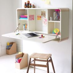 This compact, folding desk doubles as covered supply storage unit. IPC | thisoldhouse.com