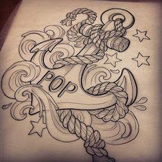 Dad Tattoos, Time Tattoos, Body Art Tattoos, Cool Tattoos, Tatoos, Anchor Tattoo Design, Anchor Tattoos, Tattoo Sleeve Designs, Sleeve Tattoos