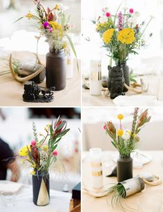 Love the black painted flower vases with the gold triangle! And the white ones with the gold lines...very bohemian! Would do a color other than black though and probably silver or copper.