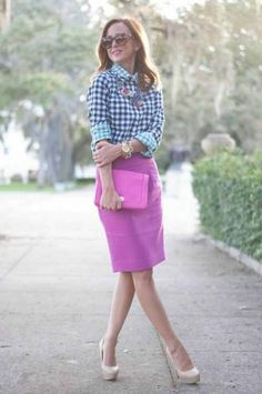 Sequins and Things: three style thursday Modest Outfits, Modest Fashion, Fashion Outfits, Womens Fashion, Dress Outfits, Dresses, Purple Plaid Shirt, Blue Gingham, Gingham Shirt