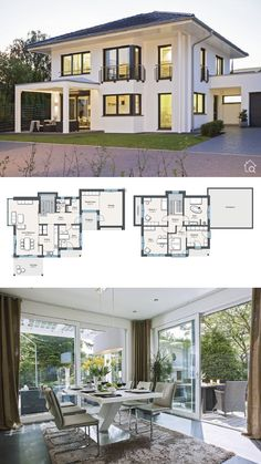 House Plans Small Mansion Modern Classic Contemporary European Style Architecture Design Floor Plan CityLife Haus 250 Dream Home Ideas with 2 Story Hip Roof Layout by. Modern House Plans, Small House Plans, Modern House Design, Roof Architecture, Modern Architecture House, Garage House Plans, House Floor Plans, House With Garage, Tiny House
