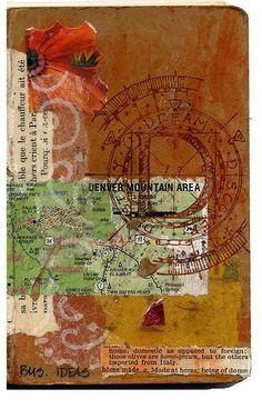 地図やスタンプ、本のページなどを組み合わせて作った表紙は、個性的です。