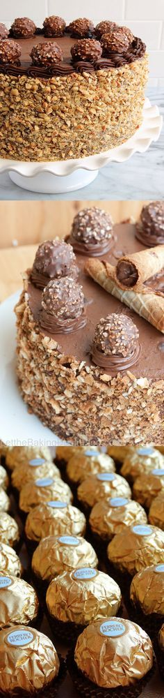I want this for my birthday cake!!!! ferrerr rocher cake nutella recipe easy nuts chocolate better baking bible blog