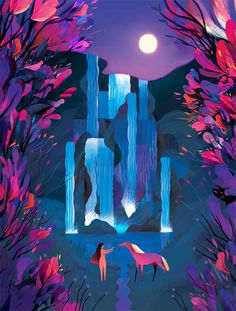 Concept artist Juliette Oberndorfer digitally paints magical nature-inspired scenes in electric neon hues.
