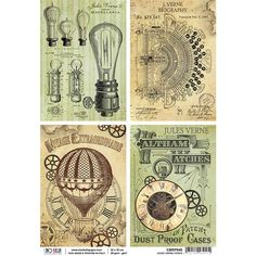 Ciao Bella - Rice Paper A4 - Jules Verne Cards Papel Vintage, Vintage Cards, Jules Verne, Steampunk Wallpaper, Steampunk Coffee, Bullet Journal Ideas Pages, Journal Cards, Junk Journal, Prima Marketing