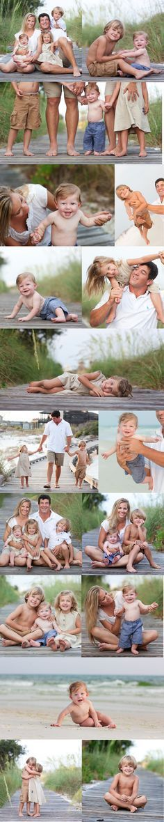 Adorable beach family shots for a family of five