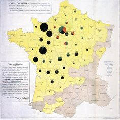 An 1858 map by data visualization pioneer Charles Joseph-Minard utilizing pie charts. Edward Tufte, Information Design, Information Graphics, Joseph, Visual Analytics, Flow Map, Charts And Graphs, Pie Charts, Geography