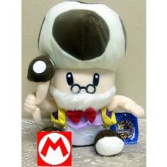 """Hard to Find Nintendo Super Mario Brothers Toad 10"""" Plush Old Toadsworth Doll"""