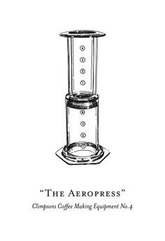 Coffee making equipment illustrations for Climpson & Sons - The Aeropress