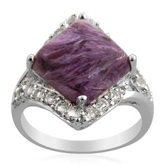 Liquidation Channel: Russian Charoite and White Topaz Ring in Sterling Silver (Nickel Free)