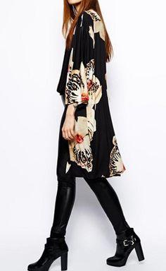 Fashion-Women-Batwing-3-4-Sleeve-Cardigan-Floral-Printed-Windbreaker-Coat-Jacket