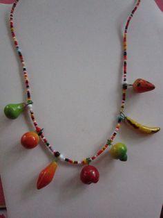 "Fruit Salad 21"" L Necklace-Vintage-Orange, Pear, Banana,Peach.etc.-EXCELLENT by JEANIESPLACE on Etsy"