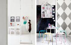Dziecięcy pokój z czarną farbą tablicową