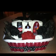 Laundry gift basket with bath towels, hand towels, washcloths, etc.  I made it for my cousins bridal shower.