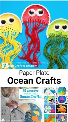 Fun Paper Plate Ocean Crafts For Kids This collection of PAPER PLATE OCEAN CRAFTS for kids is awesome! - there are more than 20 sea themed Summer crafts for kids to choose from. Paper Plate Art, Paper Plate Crafts, Paper Plates, Paper Plate Fish, Summer Crafts For Toddlers, Toddler Crafts, Diy Crafts For Kids, Crafts For 2 Year Olds, Daycare Crafts
