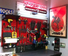 A well-organized bike shop makes for quick and efficient work. Wall Control Metal Pegboard works great for organizing bike tools, cycling components, and other necessary tools of the trade for cycling and other popular hobbies where specialized tools are required to keep things rolling along smoothly! Thanks for the great customer submission Spin!