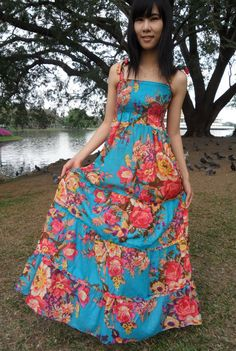 BlueFlowery Printed Cotton Dresses Maxi by PickedPathGarment, $36.00 Love this the colors are beautiful