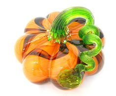 """NEW Hand Blown Glass 5"""" Dark Orange and Brown Pumpkin Fall Harvest only $56.99 Perfect for your Fall Decor"""