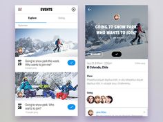 Event screen - mobile application designed by Stano Bagin. Connect with them on Dribbble; Flat Web Design, App Ui Design, Interface Design, User Interface, Design Design, Mobile Application Design, Mobile Web Design, Event App, Mobile Ui Patterns