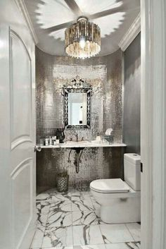 Rocker glam bathroom design