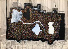 Schwarz auf System, Hervostechende Farben und weiße Steine, einer davon impliziert chaos, auf manch Stelle wächst garnichts. 200 x 150 cm #johannesfuska . Valance Curtains, Home Decor, Colors, Black, Kunst, Decoration Home, Room Decor, Home Interior Design, Valence Curtains