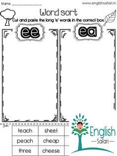 Ee Words, Nonsense Words, Sound Words, Long Vowel Worksheets, Kindergarten Worksheets, Free Worksheets, Sight Word Practice, Sight Word Games, Teaching Vowels