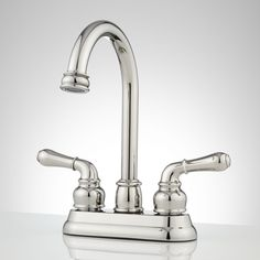 Brannigan Centerset Gooseneck Bathroom Faucet - Overflow - Chrome