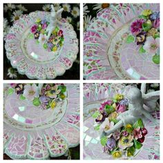 Pink Fairy Flower Mosaic Birdbath