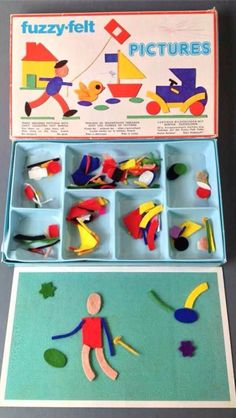 Vintage/retro toy FUZZY-FELT 'PICTURES' Made in England I had one of these. I also have a newer one in my storeroom at school-must get it out for the kids! 1970s Childhood, My Childhood Memories, Sweet Memories, School Memories, Photo Vintage, Retro Vintage, Vintage Toys 1960s, 1960s Toys, 80 Toys
