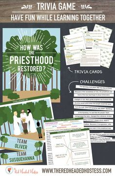 How was the Priesthood Restored?  April Young Women lesson.  This printable package is a trivia game full of facts about how the priesthood was restored.  What a fun way to learn together!