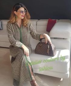 l'atelier couture by lahlou sur Instagram: JELLABA d hiver en tweed disponible en M/L💚💚💚💚 Lady Dior, Tweed, Dresses For Work, Caftans, Motifs, Instagram, Style, Fashion, Colorful Wallpaper