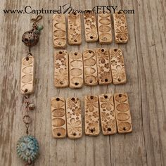 3 Rectangle beads that match the Pottery Bird Beads. $4.25, via Etsy.