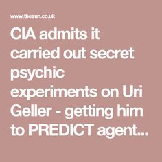 CIA admits it carried out secret psychic experiments on Uri Geller - getting him to PREDICT agent's drawings from the next room.  Early experiments possibly for remote viewing.