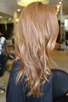 dark strawberry blonde hair with highlights