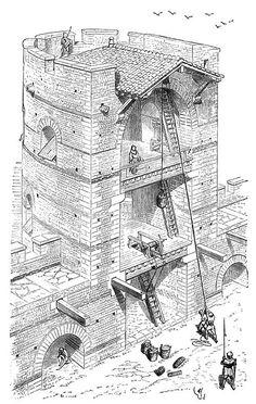 Flanking Tower | Old Book Illustrations. Title: Dictionnaire raisonné de l'architecture française du XIe au XVIe siècle vol. 9 Author: Viollet-le-Duc, Eugène Emmanuel