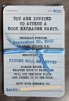A book exchange party! I love the use of library lending cards here!