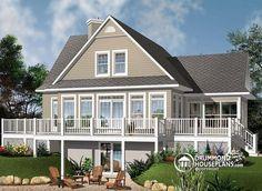 NEW A-FRAME HOME DESIGN  Rustic Country Cottage, 2 family rooms, 4 beds / 3.5 baths, solarium, unfinished walkout basement  http://www.drummondhouseplans.com/house-plan-detail/info/pocono-5-cottages-chalets-1003158.html