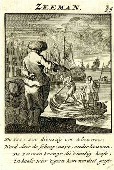 Menschelyke beezigheeden (Human occupations)Description  Plate 95: Sailor; standing at right, seen in back view, giving directions to the crew of the boat approaching at centre; in the background, a cityscape with buildings and figures at left, a seascape with large sailing ships at right. 1695 Engraving  Producer nameAfter: Caspar Luyken After: Jan Luyken Published by: Ambrosius Scheevenhuizen Print made by: Anthonie de Winter   1695