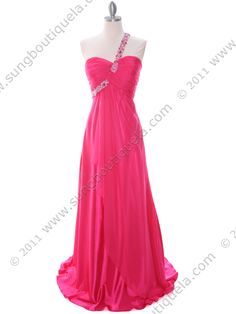 Hot Pink Beaded One Should Prom Evening Dress. Style #: 1622.