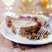 As Christmas dinners became more intimate in the 1860s, holiday menus become more elegant. Richer, more elaborate dishes offered a wide variety of ingredients that were available by rail; figs and apricots from California, wild rice from the Midwest, and seafood from either coast. This elegant pork roast, topped with wine sauce, is nice enough to serve for Christmas or New Year's, in place of turkey or ham.
