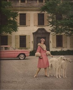 Pink wool and mohair coat trimmed in pale badger by Anne Fogarty  Francesco Scavullo