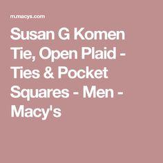 Susan G Komen Tie, Open Plaid - Ties & Pocket Squares - Men - Macy's