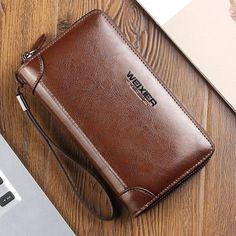 New Genuine Leather Men Wallets Cowhide Men s Clutch Bags Zipper Business  Long Purse With Coin Pocket 50e43927ec45d