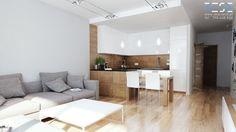 Projekt strefy dziennej i łazienki w mieszkaniu w Chorzowie - Średnia otwarta kuchnia w kształcie litery l w aneksie z wyspą, styl nowoczesny - zdjęcie od RESE Architekci Studio Projektowe