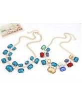 New Luxurious Multicolour Gem Alloy Necklace Sweater Chain