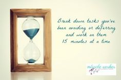 The great procrastination fix - use a timer to make headway on tasks you've been avoiding or deferring. Time management tips for small business owners, entrepreneurs and crime writers at miracleworker.com.au