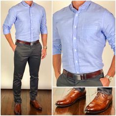 Happy Thursday Everyone❗️Today I went with a light blue linen dress shirt, charcoal gray chinos, and these awesome mahogany dress… Blue Shirt Outfit Men, Grey Dress Pants Men, Chinos Men Outfit, Slacks Outfit, Blue Shirt Dress, Formal Men Outfit, Casual Dress Outfits, Summer Outfits, Grey Chinos Men