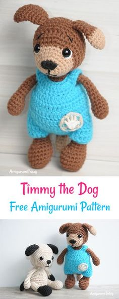 This is Timmy, an adorable amigurumi dog dressed in baby jumpsuit, looking for cuddles! Check this FREE crochet pattern