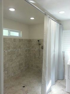 Walk In Shower Custom Shower Curtain And Rod For The Handicapped